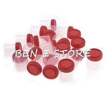 Home Clear Plastic Round Shape Urine Test Cups 60mL w Red Cover