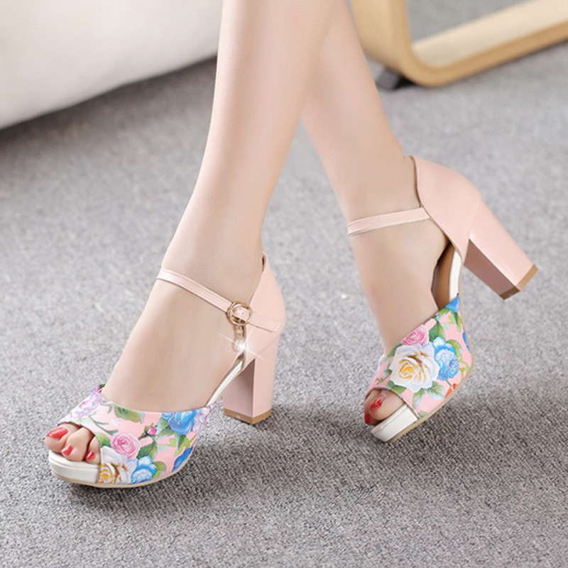 Printed Flowers Women Summer Crystal Sandal Shoes Thick High Heel Ankle Wrap Open The Toe Ladies High Heels Sandals Size 34-43<br>