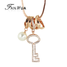 FANHUA  Jewelry Long Gunblack Silver Color Rose Gold Color Chain with Rhinestone Circle Key Pendant Necklace For Women