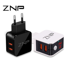 ZNP Universal USB Charger 2 Ports LED Display Mobile Phone Charger iPhone Xiaomi Fast Charger Adapter Samsung Huawei