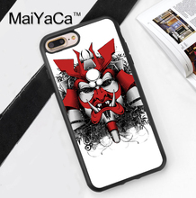 Japan Samurai Mask Style Printed Soft Rubber Phone Cases For iPhone 6 6S Plus 7 7 Plus 5 5S 5C SE 4 4S Back Cover Skin Shell