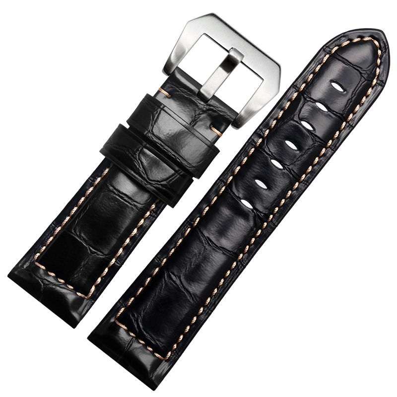 24mm Genuine leather watchband cowhide leather wristwatch straps Accessrioes for PAM with stainless steel buckle<br><br>Aliexpress