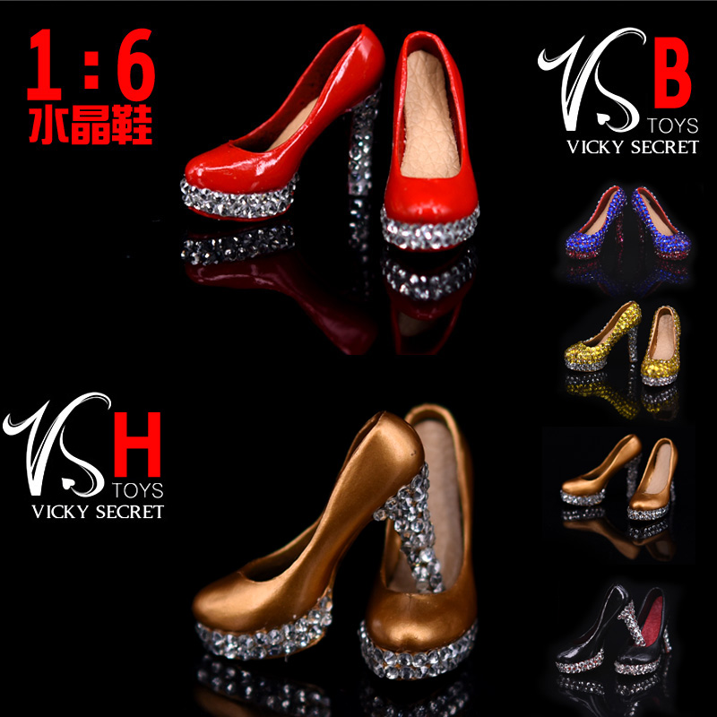 1/6 Scale Action Figure Accessory Female Red High Heels Crystal Shoes F 12inches Collectible Action Figure Toys  <br><br>Aliexpress