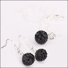 Shamballa Jewelry Set Free Shipping Include Earrings & Necklace #SS14S