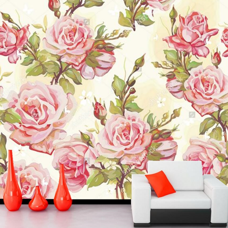 Custom murals ,Elegant Pink Rose Wallpaper papel de parede,hotel room living room sofa TV wall bedroom kitchen wallpapers<br>