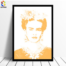 Frida Kahlo Floral Printing Art Canvas Paintings Poster, Flower Wall Picture for Living Room Self Portrait(China)