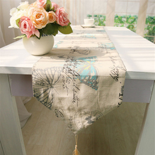 Wedding Banquet Decoration Dining Table Runner British Foot of the Bed Blue Butterflies Table Runners Luxury Tea Table Flag