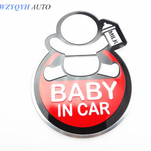1pcs New 3D Aluminum Baby in car stickers For ford focus cruze k2 rio skoda octavia mazda opel vw audi bmw car accessories