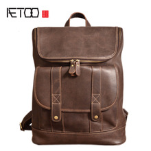 AETOO Original handmade crazy horse skin backpack men first layer leather leather travel mountaineering bag mad horse leather co(China)