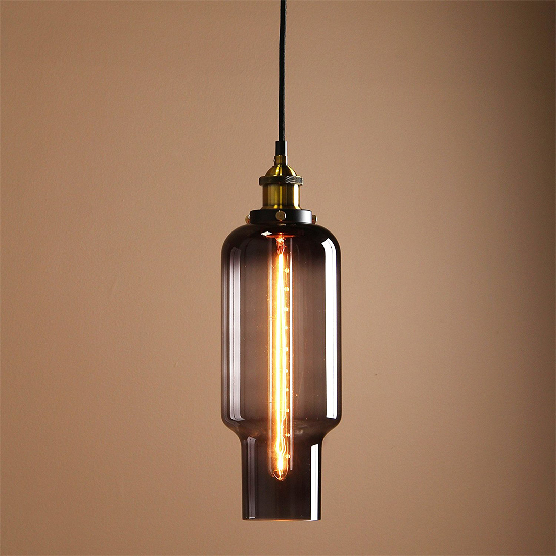 Vintage Industrial Metal Finish Black Gray Glass Shade Loft Pendant Lamp Retro Vintage Light fitting diameter 14cm<br>