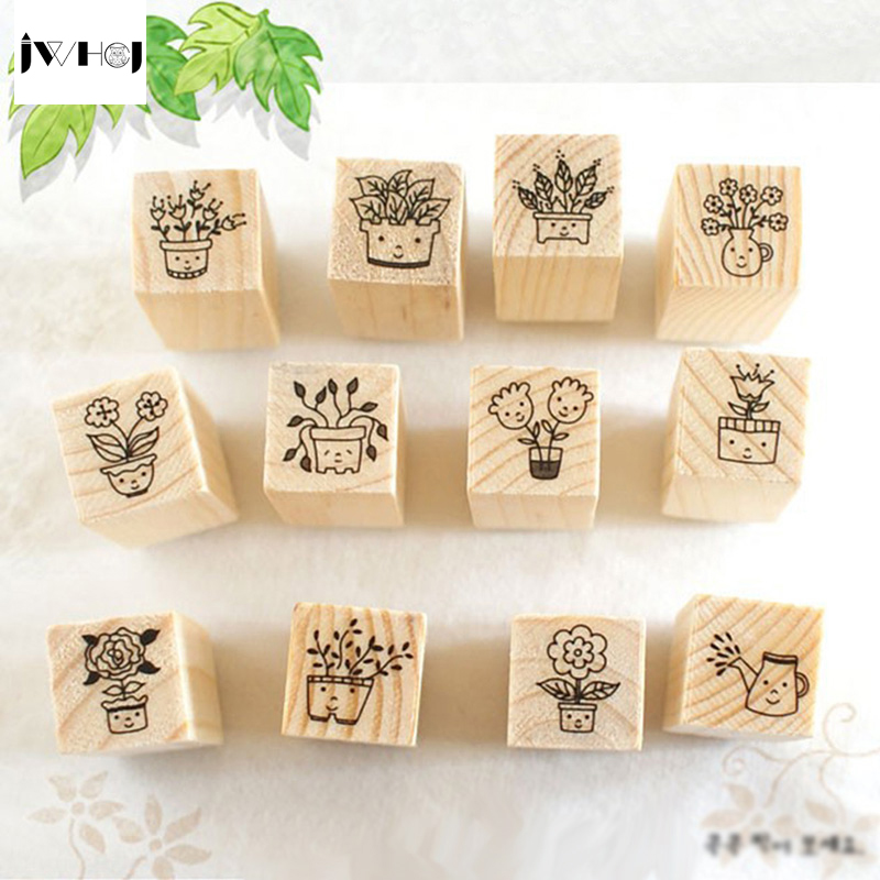 JWHCJ (12 PCS/set) Mini Cute Smiling girl DIY wooden rubber stamp set Crafts diy Handmade decal scrapbooking Photo Album(China)