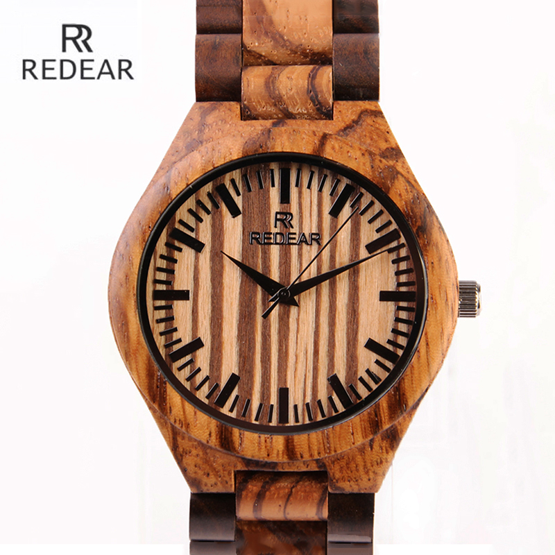 REDEAR New Top Brand Natural Wood Watch Men Quality Zebra Pattern Wooden Wristwatch Waterproof Male Watches Relogio Masculino<br>