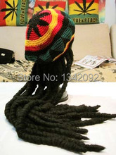 Fashion Punk Knitted Jamaica Rasta Hat With Dreadlocks Wig Jamaican Fancy Dress Costume Halloween Skullies Beanie Cap Wholesales(China)