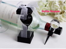 The guests present Clear Crystal Ball Top Wine Bottle Stopper lowest price 100pcs Wedding Souvenirs Gift 100pcs(China)