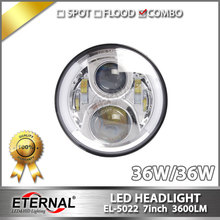 Free shipping pair-36W angel eyes headlamp speakers 7inch round LED sealed headlight for offroad 4x4 truck trailer motorcycles(China)
