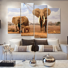 Drop-shipping Frameless Large Modern Elephant Oil Painting Cuadros Decoracion Canvas Wall Art Pictures for Living Room 4 Pieces