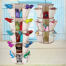 360 Rotating Beige Smart Carousel Hanging Organizer Clothes Shoes Bag Storage