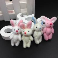"Bulk 100pcs 4.5cm(1.8"") Plush Mini Rabbit Joint Pendants Stuffed Bunny For Key chain/Bouquet/Mobile Phone/Bag Dolls soft Toys(China)"