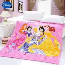 Shining Princess Quilts Bedding Twin Single Queen Comforters Cotton Fabric Woven Disney Character Prints Girls Summer Pink Color(China)