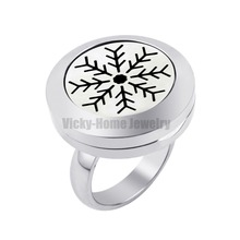 20mm Snow Locket Ring with Crystals Stainless Steel Aromatherapy / Essential Oils Aromatherapy Locket Ring DropShip(China)