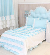 Romantic princess blue beding sets,cotton twin full queen king girl elegant fairyfair bedcloth bedspread pillow case quilt cover(China)