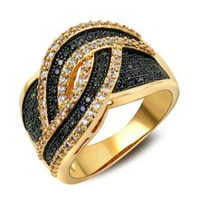 Super Fashion Woven Face Women Rings Bling Wedding Jewelry Micro Pave Setting Black & White AAA Cubic Zirconia Gold-color
