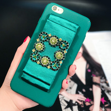 Hot Blue sea legend satin ribbon for iPhone7plus 6S 6plus phone case rhinestones buckle all-inclusive party hard shell tide