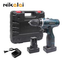 25V Two speed rechargeable battery hand electric drill bit set charger cordless electric screwdriver tool plastic suitcase box