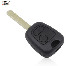 DANDKEY 2 BUTTON REMOTE FOB KEY CASE COVER UNCUT BLADE FOR PEUGEOT 107 207 307 206 306 without groove on blade Free Shipping