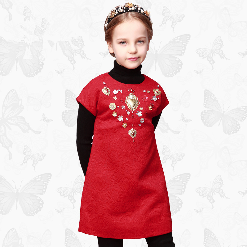 Toddler Girls Dresses Children Clothing 2017 Brand Princess Dress for Girls Clothes Fish Print Kids Beading Dress 1 44<br>