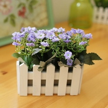 High Quality New Vivid Milan Artifical Flowers With Vase Wooden Fence Receptacle + Silk Flower Set Home Decorative Supplies(China)