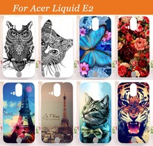 For Acer Liquid E2 Duo V370 Case Cover,high quality 14 patterns painting colored tiger owl rose Soft Tpu case for acer e2 Sheer