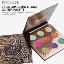 FOCALLURE 9 Colors Diamond Glitter Eye Shadow Palette Flash Shimmer Highly Pigmented Eyeshadow Easy to Wear Eye Daily Makeup YE2(China)
