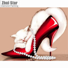 Square resin Rhinestone full diamond embroidery lovely cat in shoes 5D DIY diamond painting  Cross Stitch Needlework home decor