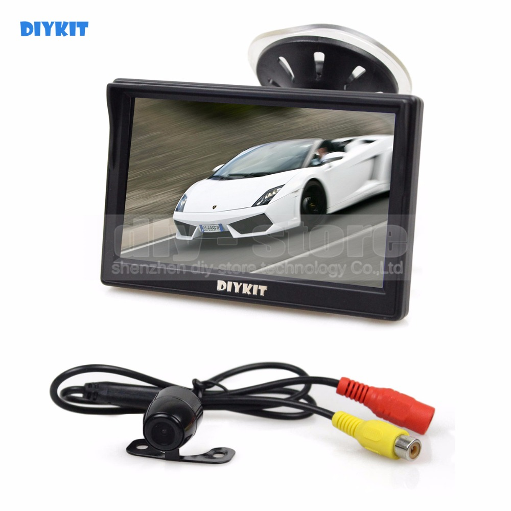 DIYKIT Wired 5 inch LCD Display Rear View Car Monitor + Car Camera Parking Security System Kit