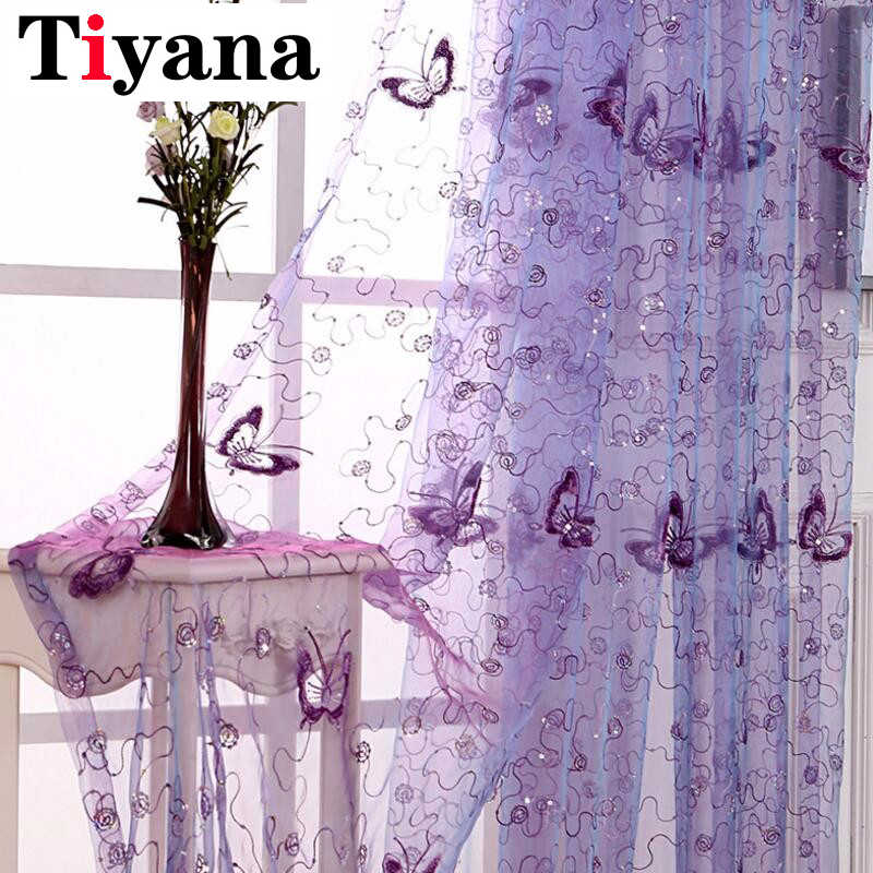Tiyana Romantic Modern Embroidered Sequins Butterfly Rustic Sheer Voile Curtains for Living Room Bedroom Kitchen Purple P344D3