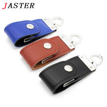 JASTER 100% real capacity 3 colors Leather USB Flash Drive 4GB 8GB 16GB 32GB keychain Pendrive 64GB flash Memory stick Pen Drive(China)