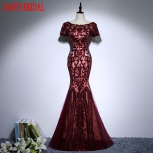 Sexy Burgundy Long Mermaid Evening Dresses Party Sequin Women Formal Evening Gowns Dresses Wear robe de soiree longue