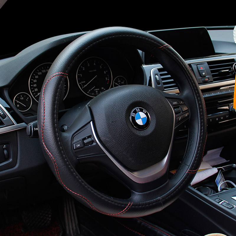 Large size Pu Leather Car Steering Wheel Cover plus wheel hubs for different cars 36 38 40 42 45 47 50cm for trunk bus 1