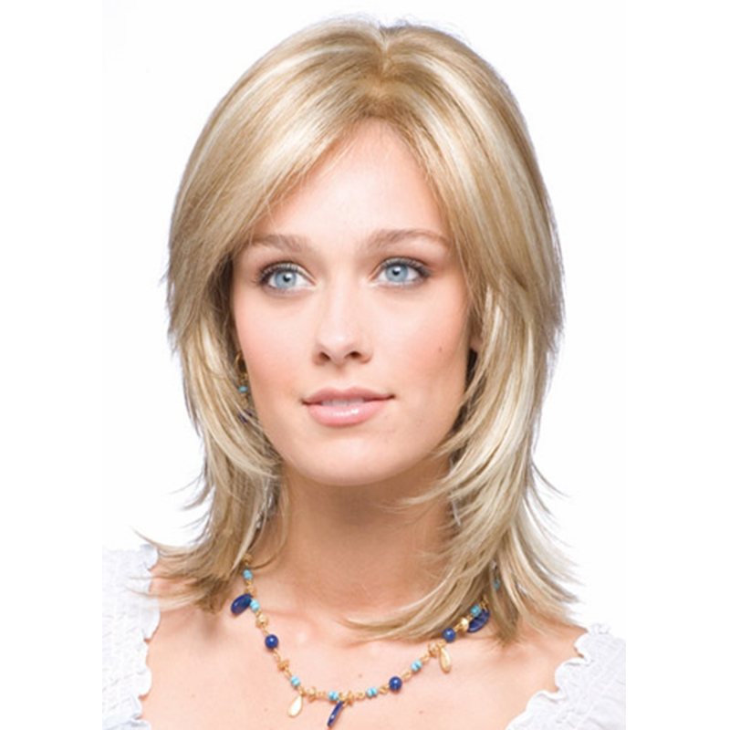 2017 New Arrival Women Highlight Blonde Color Medium Straight Bob Hairstyle Synthetic Hair Wigs Hot Sale<br><br>Aliexpress