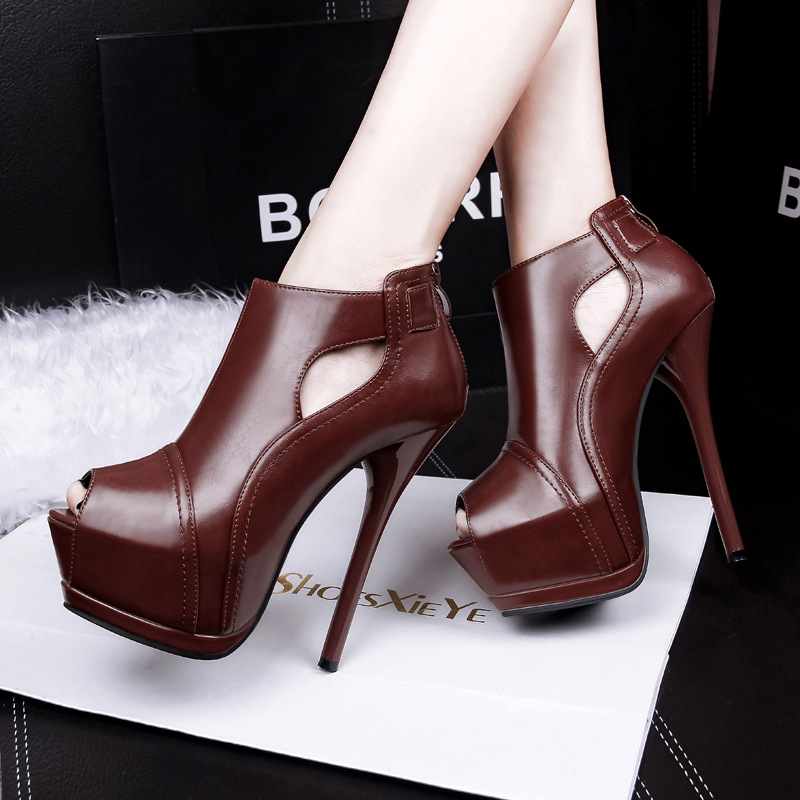 European and American fashion nightclubs waterproof hollow high with thin with fish lips sexy show thin mouth short boots 266<br><br>Aliexpress
