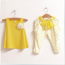 2Pcs/Set Baby Girl Clothes Set Summer Flower Baby Vest+Pant Children Set Girl Cute Bow Belt Casual Fashion Costume