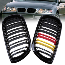 Front Center Racing Grills For BMW 3-Series E46 Touring 2001-2006 Facelift Double line German Flag Style Kidney Hood Grille