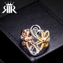 Popular Christmas Four Finger Ring Custom Flower Shaped Life Saving Ring Settings Without Stones(China)