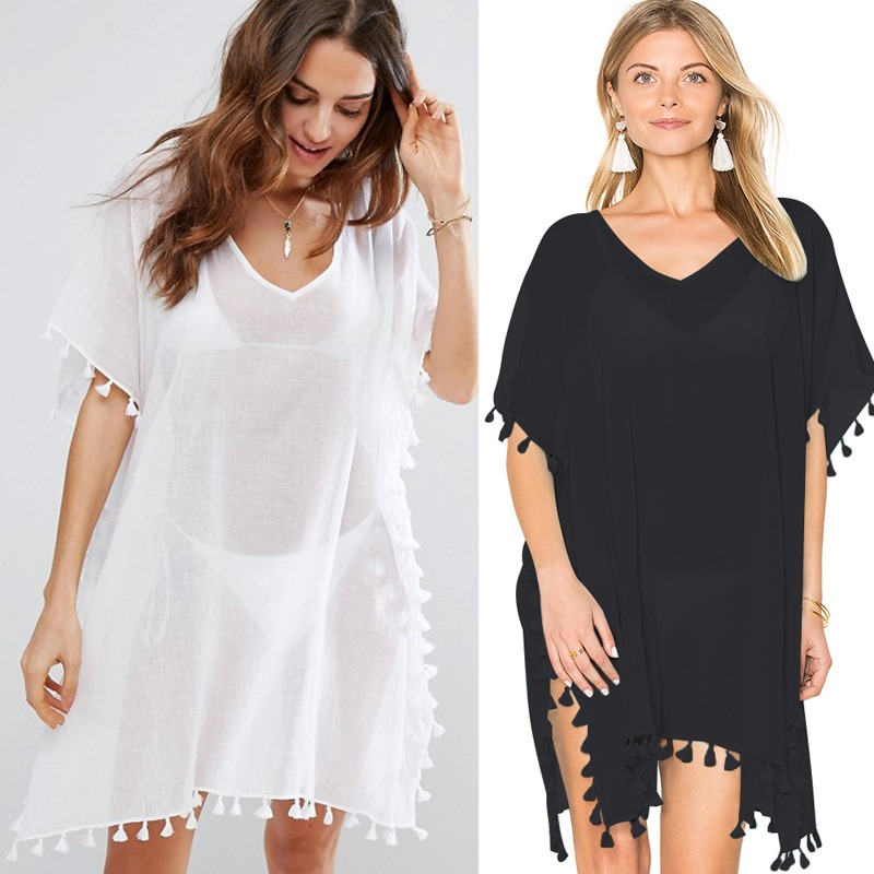 Womens Summer Rayon Cotton Loose Swimsuit Dress Solid Color Hollow Out Tassels Trim Bikini Cover Up Long Flare Sleeves Pullover Women's Clothing