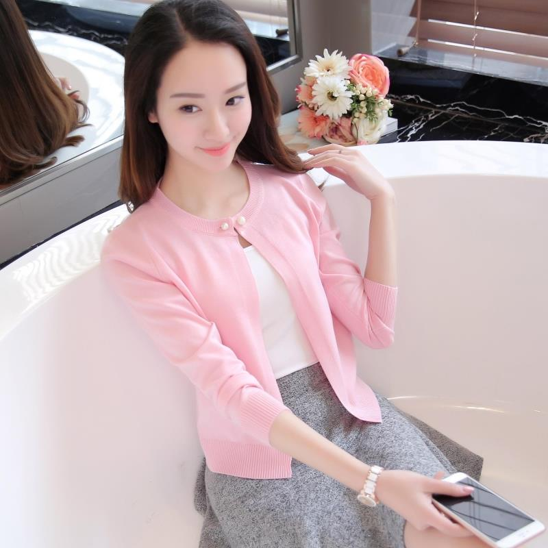 Newest Knitted Cardigan Women Spring Autumn Long Sleeve Women Sweater Cardigan Female Single Button Pull Femme Black/pink (Us 8-14)