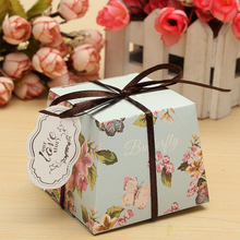 10Pcs Flower Laser Paper Case Cake Candy Boxes Ribbon Wedding Party Favor Gift Chocolate Small Jewelry Bag