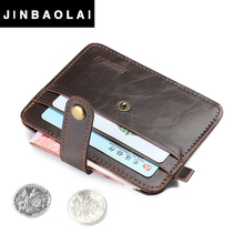 JINBAOLAI New Slim Credit Card Holder Mini Wallet Mens Artificial Leather ID Case Purse Bag Pouch Vintage Card Holder 2017 Gift