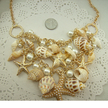 Conch Shell Starfish Simulated pearl Necklace Sweet Fashion Fashion Sea Star Plated Multitiered Necklaces & Pendants For Women(China)