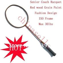 High quality racquet Senior Coach Racquet Badminton Racket Racquet Full Carbon wood grain ,max30lbs,free 1 sweatband,1 line GB(China)